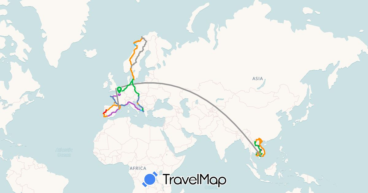TravelMap itinerary: driving, bus, plane, cycling, train, boat, hitchhiking, motorbike, famille in Albania, Austria, Czech Republic, Germany, Denmark, Spain, France, United Kingdom, Croatia, Hungary, Italy, Cambodia, Laos, Montenegro, Norway, Portugal, Sweden, Vietnam (Asia, Europe)